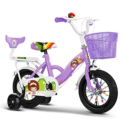 CKCL Bicicleta para Niños Bicicleta De Estilo Libre 2-9 Años Niños Niñas 12 14 16 18 Bicicleta De 20 Pulgadas con Asiento Trasero Ruedas De Entrenamiento para Niños Más Amplias Trae Canasta