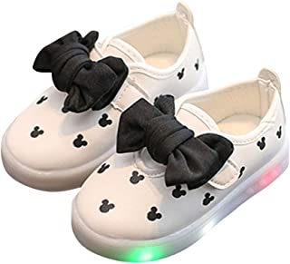 Hopscotch Girls PU Applique Bow LED Shoes in White Color