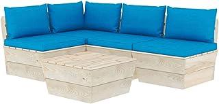 vidaXL Madera de Abeto Muebles de Jardín de Palets 5 Piezas y Cojines Exterior Terraza Casa Cocina Mobiliario Mesa Asiento Silla Suave con Respaldo