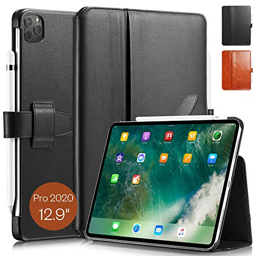 KAVAJ Case Leather Cover London works with Apple iPad Pro 12.9' 2020 Black Genuine Cowhide Leather with Pencil Holder Supports Apple Pencil Slim Fit Smart Folio