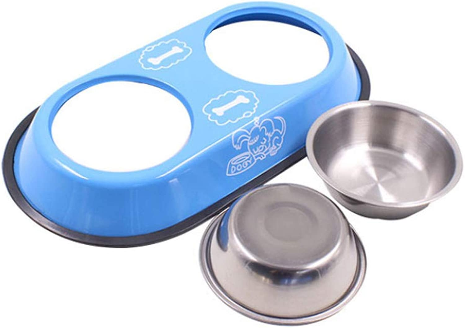 Ronghuafugui bluee Dog Bowl Stainless Steel Travel Feeding Feeder Water Bowl For Pet Dog Cat Puppy Food Bowl Water Dish (color   S)