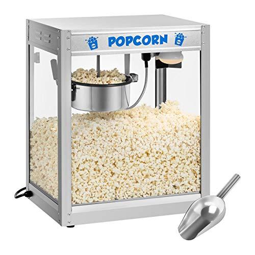 Royal Catering RCPS-1350 Macchina per Popcorn Professionale Popcorn Maker (1350 W, ca. 6 kg/h, Acciaio Inox, Rivestimento Teflon, Paletta incl.)