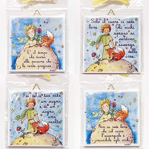 Piastrelle PICCOLO PRINCIPE 4 pezzi CON FRASI ASSORTITE (4 modelli) bomboniera, battesimo, cresima, comunione