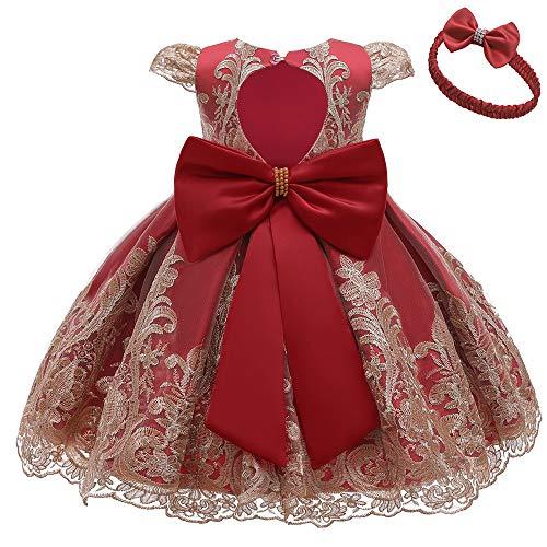 COMISARA Toddler Baby Girl Dress Wedding Pageant Christmas Prom Tutu Bridesmaid Dresses Size 18M (Wine, 18M)