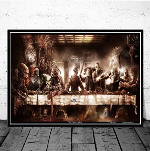 REDWPQ Personaje de la película de Terror de Halloween La última Cena Arte Pintura Póster Impresiones Imagen de la Pared Habitación Decoración del hogar 42X60 cm sin Marco
