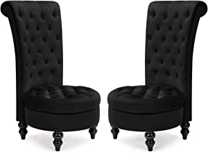 Avawing QueenThroneChairs for 2,Retro Armless Sofa Chair for Bedroom Living Room,deep seat Chair with Sturdy Wood Legs (2, Black)