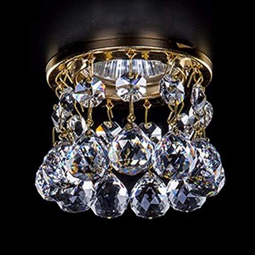 XIHOME Lámpara de techo con luz LED de cristal,focos empotrados,para pasillo,sala de estudio/oficina, comedor, dormitorio,sala de estar,3 W,5 W,sin bombillas y portalámparas,solo clip pantalla,dorado