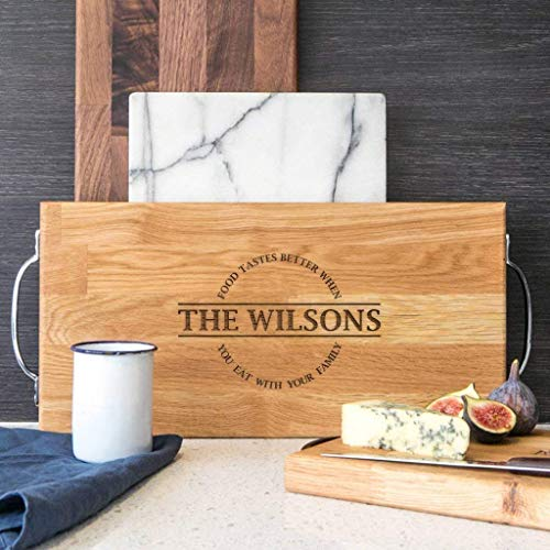 Personalised Family Wooden Chopping Board With Handles Large Cheese Board Kitchen Dining Table Home Decor Accessories For Women Oak Or Walnut Food Tastes Better When You Eat With Your Family