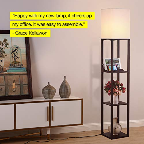 A lamp with shelves can be used as a nightstand and save space in a small bedroom