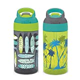 Zak Designs 16oz Riverside Beach Life Kids Water Bottle with Straw and Built in Carrying Loop Made of Durable Plastic, Leak-Proof Design for Travel, 2PK Set, Surf Boards-Palm Trees