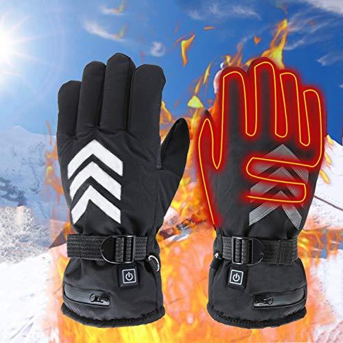 Massage-AED beheizbare Ski-Handschuhe Fäustlinge mit Akku, beheizte Fausthandschuhe für Damen Herren/beheizbarer Winterhandschuh zum Skifahren Snowboarden Wintersport wasserdicht