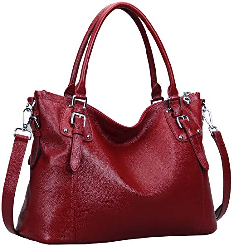 Heshe Women's Leather Handbags Shoulder Tote Bag Top Handle Bags Satchel Designer Ladies Purses Cross-body Bag (LWine)