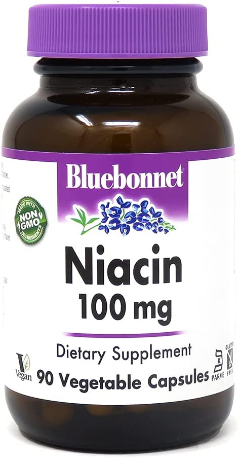 BlueBonnet Niacin 100 mg Vegetable Capsules 90 '74371500 Super sale Easy-to-use Count