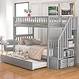 Cama, marco de cama doble con escaleras, litera de madera con soporte de almacenamiento conjunto completo de camas dobles Ahorrar espacio XKun