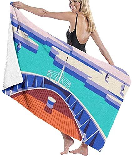BAOYUAN0 Toalla de Playa Gigante Barco Arte Pintura sobre Hielo Manta de Playa Toalla de baño Absorbente Toalla Grande 80 * 130cm Accesorios para Acampar Manta de Picnic
