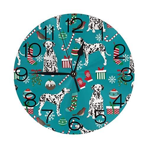 GOSMAO Reloj de Pared Redondo, Navidad de Perros dálmatas, Reloj de decoración del hogar para Sala de Estar, Dormitorio, Oficina