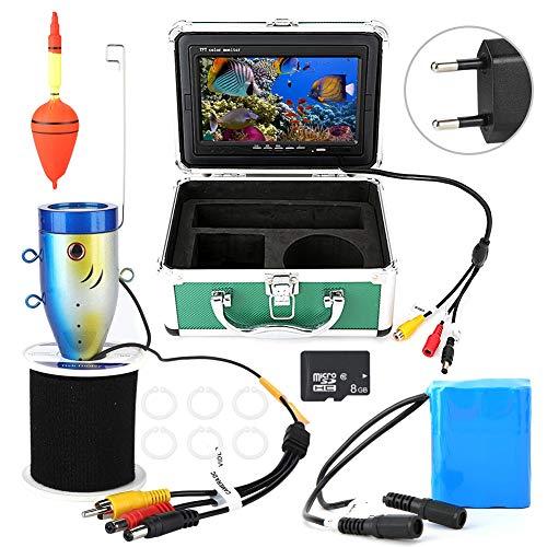 Onderwatercamera, 7-inch TFT-scherm 50 m waterdichte videorecorder 1000TVL onderwater fishfinder met 8 GB TF-kaart voor ijs-, zee- en bootvissen (EU)