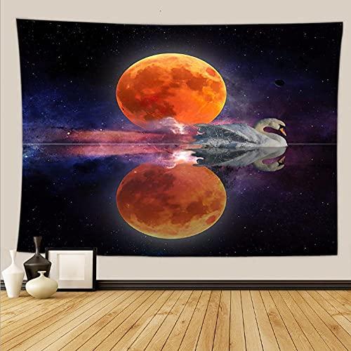 Wandteppich Aesthetic Mond Schwan Spiegelung Tapisserie wandtuch Wandteppich für Wohnzimmer Schlafzimmer Bettdecke Strandtuch Tagesdecke Dekor 150x130cm