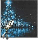 Set di 6 tovagliette riutilizzabili con albero blu, bellissimi fiocchi di neve e stelle luccicanti per tavolo da pranzo, resistenti al calore, lavabile, antiscivolo, perfetto per l'uso quotidiano.