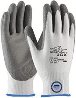 Protective Industrial Products 2X White And Gray Great White 3GX Light Weight Dyneema Diamond Blend Cut Resistant Gloves With Knit Wrist And Polyurethane Coated Palm And Fingertips - 72 Pair/Case