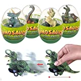 4 Pack Jumbo Easter Eggs with Dinosaur Pull Back Cars Easter Basket Stuffers Holiday Party Favors for Kids Boys Toddlers (Dinosour egg-4pack-1)