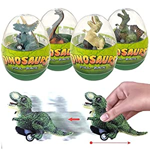 4 Pack Surprise Dinosaur Pull Back Car in Jumbo Easter Eggs, 4.72 Inches for Each Car. Pull Back and Go! Super Fun! 12 kinds of different dinosaurs(Pterosauria, Spinosaurus, Tyrannosaurus, Triceratops, Dilophosaurus etc), 4 pack ship random, bring yo...