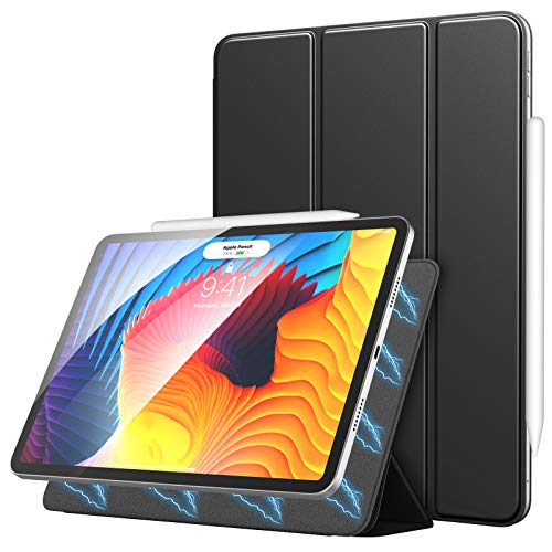 MoKo Magnetic Case Fit New iPad Pro 11 Inch 2021/iPad Pro 11' 2020, [Support Apple Pencil Charging] Smart Folio Slim Shell Trifold Stand Cover For iPad Pro 11 3rd Generation Auto Wake/Sleep, Black