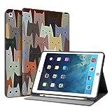 HUASIRU Pintura Caso Funda para iPad Air 1, 2 (9.7 Pulgadas) y iPad 2017 2018 - Porta lápices Incorporado, Gatos