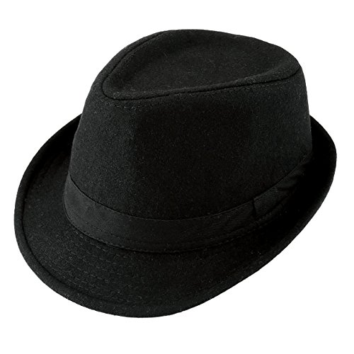 Unisex Classic Manhattan Fedora Hat with Black Band Fashion Casual Jazz Wool Cap (Black)