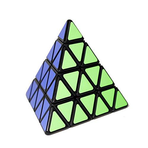 FunnyGoo ShengShou 4x4 Pyraminx Pyramide Dreieck Zauberwürfel Geschwindigkeit Puzzle Cube Schwarz mit Einem Würfelstand