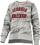 Pressbox Women's University of Georgia Bulldogs Gilligan Long Sleeve Crewneck French Terry Fleece Top, Camouflage- Large