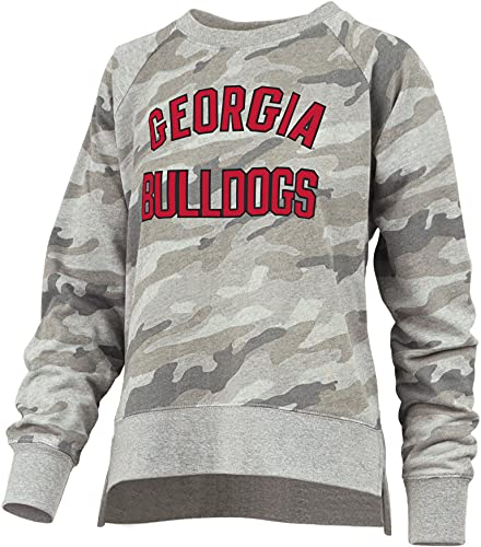 Pressbox Women's University of Georgia Bulldogs Gilligan Long Sleeve Crewneck French Terry Fleece Top, Camouflage- Medium