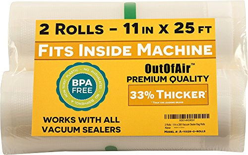 11' x 25' Rolls (Fits Inside Machine) - 4 Pack (100 feet total) OutOfAir Vacuum Sealer Rolls. Works with FoodSaver Vacuum Sealers. 33% Thicker, BPA Free, Sous Vide, Commercial Grade
