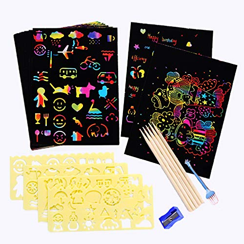Scratch Paper Art Set 50pcs Rainbow Scratch Arts Crafts Supplies Kits for Kids Girls Boys Black Scratch off Note boards with 5 Wooden Stylus and 4 Drawing Stencils for DIY Kids Birthday Party Game