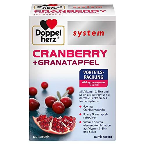 Doppelherz system CRANBERRY + GRANATAPFEL – Vitamin C, Zink und Selen als Beitrag für die normale Funktion des Immunsystems – 120 Kapseln