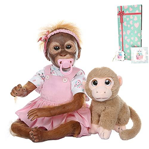Zero Pam Handmade Reborn Monkey Baby Dolls Realistic Look Newborn Apes Silicone Vinyl Dolls Weighted Body Collectable Reborn Orangutan Babies Looks Real