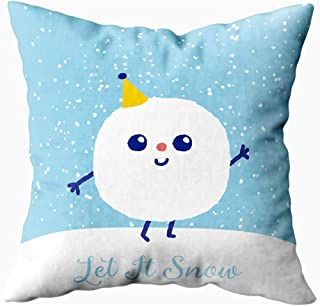 Ducan Lincoln Pillow Case 2PC 18X18,Fundas De Almohada De Sofá,Fundas De Funda De Almohada De Tiro Cuadrado Navidad Let Snow Cute Ball Character Cojín De Ambos Lados
