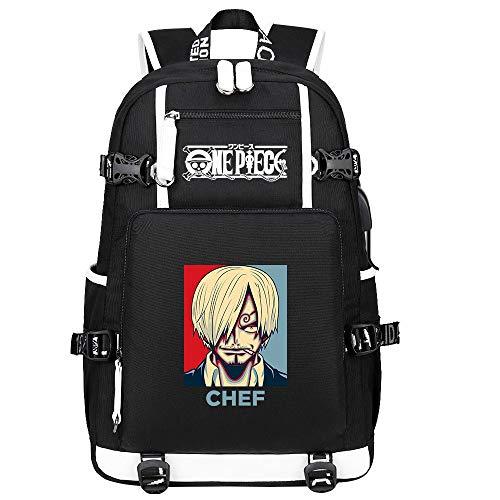 ZZGOO-LL One Piece Monkey·D·Luffy/Vinsmoke Sanji Anime Mochilas Moda Viaje Mochila Informal Negocios Universidad USB Unisex-B