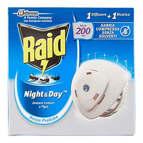 Raid Insetticida/diffusore elettrico a sabbia compresso Zanzariera e/Zanzare tigri/Mosche ricarica Night/Day