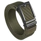 JUKMO Ratchet Belt for Men, Nylon Web Tactical Gun Belt with Automatic Slide Buckle (Army green, Medium)