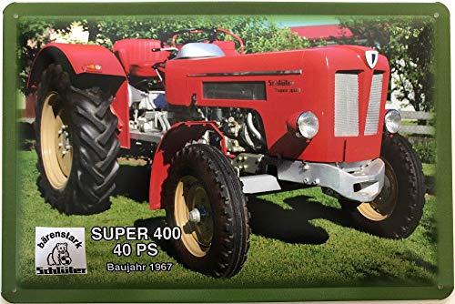 Deko7 metalen bord 30 x 20 cm Tractor Schlüter berenstark Type Super 400 40 PS bouwjaar 1967