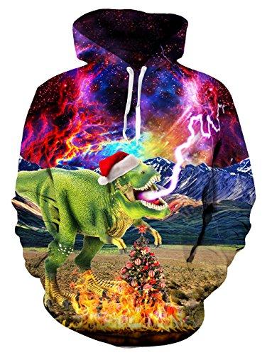 uideazone Uniesx 3D-Druck Hoodies Fleece-Pullover Lustige Kapuzenpullover Sweatshirt für Herren Damen mit Großen Taschen …, Dinsouar-3, XL