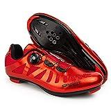 TAOXUE Zapatillas de ciclismo para hombre de carretera compatibles con SPD/SPD-SL y hebilla de rotación rápida, ligeras, transpirables, para interiores, rojo, 39 EU