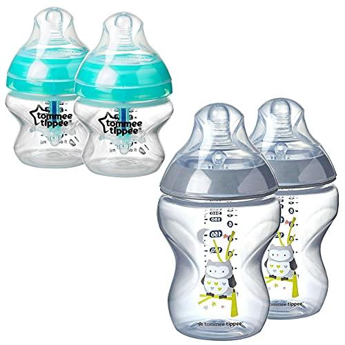 Juego de 4 biberones anticólicos de 150 ml y 260 ml, tetinas de flujo lento para bebés recién nacidos a partir de 0 meses, sin BPA