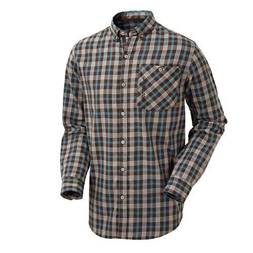 Shooterking Active Moorland Hemd Herren | Jagdhemd kariert | Outdoorhemd | Baumwollhemd für Jäger (Blau, L)
