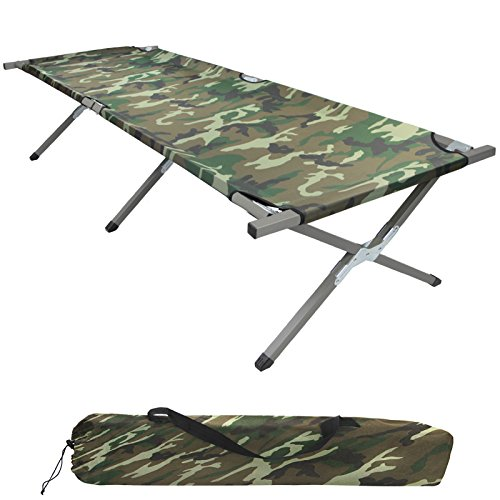 BB Sport Feldbett Klappbett XXL 200 x 70 x 52 cm Stabiles Campingbett bis 150 kg Belastbar Tragbar Tasche Liege Reise Bequem, Farbe:Military