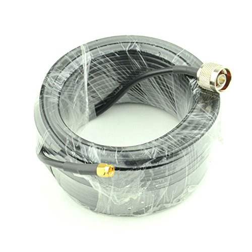15-Meter(49.2 Ft) Low Loss RG58 N Male to SMA Male Antenna RF Coaxial Cable Connector and Two-Way Radio Applications Pure Copper 50 ohm Cable for 3G/4G/5G/LTE/ADS-B/Ham/GPS/WiFi/RF Radio to Antenna