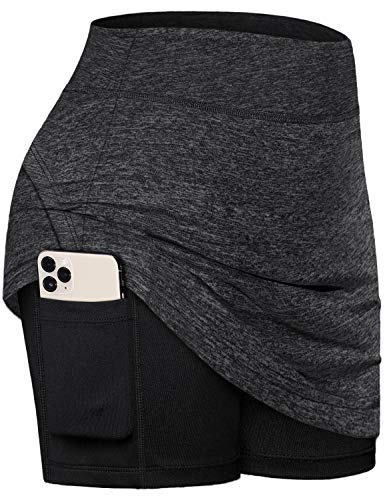 Fulbelle Skorts for Women with Pockets, Teen Girls Cute Tennis Skirts Golf Athletic High Waisted Double Layers Skirt Summer Activewear Sweat Shorts Pleated Clothes Black Medium