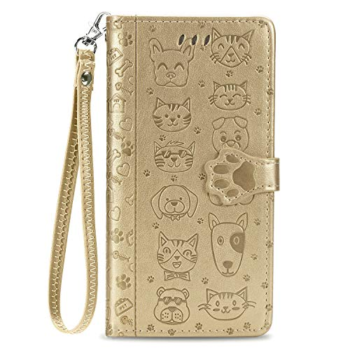 Phenton Galaxy A20/A30 Wallet Case,[CAT&Dog Embossed] Premium PU Leather Wallet Flip Protective Phone Case Cover with Card Slots and Stand for Samsung Galaxy A20/A30,2019 Released (Gold)