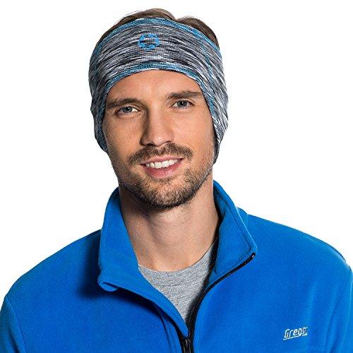 Gregster - Bandeau - Modèle Henry - Parfait pour les sports en extérieur - Peut se porter sous un casque - Mélange Gris/Bleu